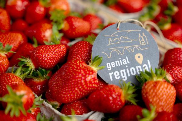 Frische Erdbeeren mit Marke genial regional Weigold